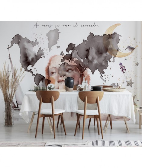 MAPA MUNDI OFELIA Mural de papel pintado