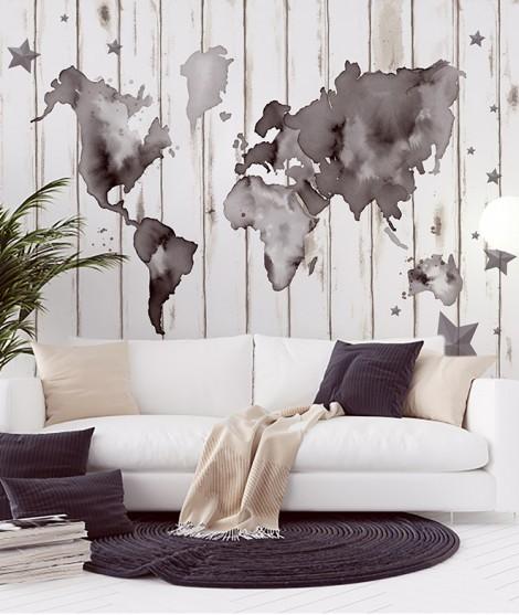 MAPA MUNDI TINTA Mural de papel pintado